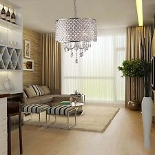 HQ DRUM Iron SHADE CRYSTAL CEILING CHANDELIER PENDANT LIGHT FIXTURE LIGHTING