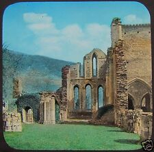 Glass Magic Lantern Slide LLANGOLLEN VALLE CRUCIS ABBEY NAVE C1890 WALES PHOTO