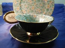 SHELLEY  MARGUERITE CHINTZ  FOOTED OLEANDER CUP & SAUCER & RIPON PLATE  #13693
