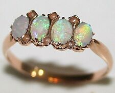 ANTIQUE ART DECO 18K ROSE GOLD BEAUTIFUL OPAL SMALL PEARL FINE 4 STONE Ring 1920