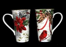2 HOLIDAY WISHES Cardinals Poinsettias Large Hvy Flare Latte Mugs 222 Fifth NWOT