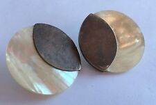 Vintage HUGE Modernist Studio Sterling Silver & Mother Of Pearl EARRINGS 1 1/2""