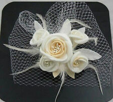 New Champagne Flower Fascinator Wedding Bridal Birdcage Face Veil Stock