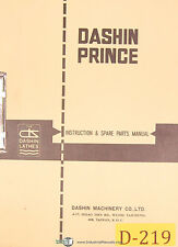 Dashin Prince 750 & 1000, Lathes, Operation Parts and Electrical Diagrams Manual