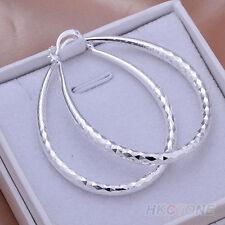 Sparkling~Silver Plated~U~Hoop Earrings~50mm x 4mm