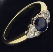 Exquisite 0.45ct Sapphire & Diamond Dress Ring , 18ct Gold Uk Hallmark RRP £749
