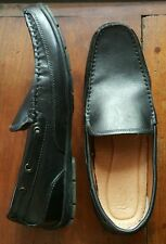BASS MEN'S LEATHER DRIVING LOAFERS - BLACK, SIZE 10