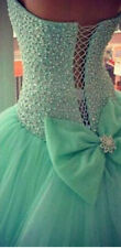 New Mint Green Tulle Ball Gown Quinceanera Dress  Crystal Party Prom Dresses