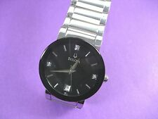 BULOVA 96D18 3 REAL DIAMONDS MEN'S CASUAL WATCH STAINLESS STEEL BLACK DIAL DATE