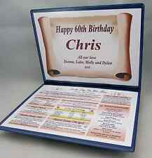 SPECIAL 60TH BIRTHDAY GIFT -THE YEAR YOU WERE BORN - PERSONALISED KEEPSAKE