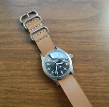 Horween Natural Veg Tan Horsehide Military Style Watch Strap 20mm Hamilton Khaki