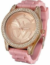 Wonder Woman Rhinestone Accented Rose Gold Tone Watch with Pink Strap WOW9057