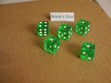 NEW 5 Transparent Green RPG Bunco Gaming Dice Set 16mm D6 Great Home Casino