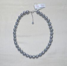 "NWT Majorica Grey Pearl Baroque Necklace 12mm Knotted 20"" Sterling Silver $355"