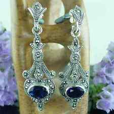 Sterling Silver MARCASITE & SAPPHIRE Large Art Deco Style Long Drop Earrings