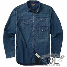 $345 RRL Ralph Lauren Vintage Inspired 1930s Indigo Cotton Blend Work Shirt-XL