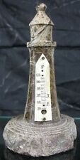 Antique Victorian 1900's Green & Brown Stone Lighthouse Paperweight Thermometer