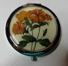 ORANGE COREOPSIS FLOWER MIRROR SILVER PLATED CREAM COMPACT HANDBAG VANITY GIFT X