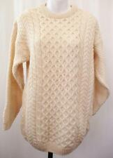 S - Vintage 80's Womens Cream Aran Scottish Wool Jumper Sweater Winter - C371