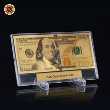 WR Latest $100 Bill US Paper Money Gold Banknote +Display Frame Holiday Gift