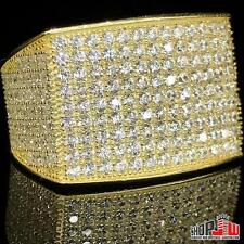 Mens Yellow Gold Finish .925 Silver Simulated Diamond Ring Iced Out Size 8 Pave