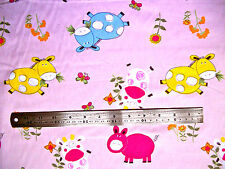 PINK WITH FARM ANIMALS IN VARIOUS COLOURS - CHILDRENS 100% COTTON FABRIC F.Q.