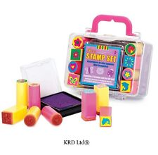 Kids Mini Stamp Set 1 INK PAD + 8 STAMPS Preschool Toddler Art Craft Storage Kit