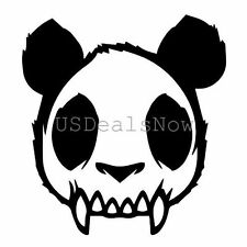 "1x Skull Zombie Panda Evil Mad Dead Goth Vinyl Decal Car Sticker 4.63""x5"" Black"