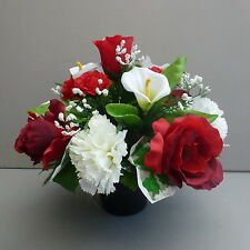Artificial Flower Arrangement Red/ White In Pot For Grave/Memorial Vase