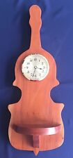 Vintage Handmade Stained Wood Violin Shaped Wall Clock with Shelf
