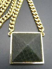 $78 Vince Camuto Blow Up Pyramid Green Leather Pendant & Chain Goldtone AS-IS