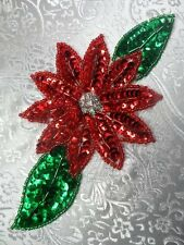 "JB25 Christmas Floral Rhinestone Beaded Sequin Applique 6.5"" Iron On Sewing"