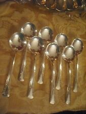 International Silver Camelia 8 round soup GUMBO spoons EXCELLENT