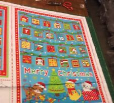 Kitty Cat Christmas Advent Calendar 100% Cotton Quilting Panel Fabric