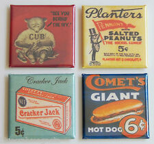 Chicago Cubs FRIDGE MAGNET Set (1.5 x 1.5 inches each) baseball hot dog Wrigley