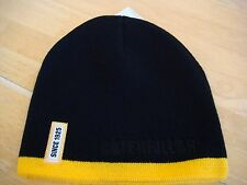 "CAT Caterpillar Black Hat Cap Beanie Yellow Stripe & ""Since 1925"" Patch"