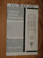 Motorola Vintage 1989 Cellular Mobile Telephone User's Manual