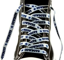 """DALLAS COWBOYS SILVER TEAM SHOE LACES 54"""" *LACEUPS* GAME DAY PARTY NFL FOOTBALL"""