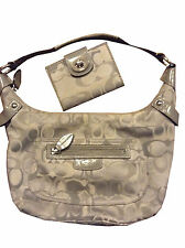 Coach grey gray signature Penelope hobo bag & turn lock medium wallet set