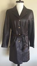 Vera Pelle Dark Brown Genuine Leather Women's Coat Jacket Sz S