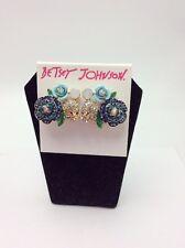 Betsey Johnson Goldtone SKULLS & ROSES Blue Pave' Aqua Rose Clip Earrings $55