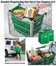 2 x Green Reusable Shopping Trolley Bag | Fold-a-Tote | Bag for Life Storage Bag