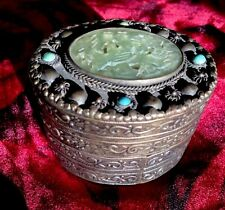 Antique Chinese Carved Jade & Turquoise Cabochon Jeweled Mirror Box