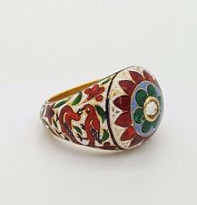 ANTIQUE RARE 18K YELLOW GOLD COLORED ENAMEL OLD MINOR DIAMOND FlOWER BIRD RING