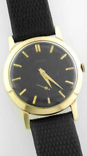 Vintage 14k Gold Jaeger Lecoultre 33279 Cal 480cn 33mm Watch Black Dial