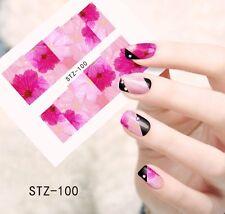 Nail Art Design Ongles Eau Transfert/impression Sticker Full Cover Fleur STZ-100