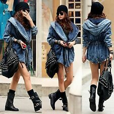 Coat Hoodie Denim Jacket Outerwear Trench Women Jean Hooded Jeans Fashion New