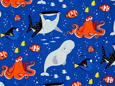 DISNEY FINDING DORY & FRIENDS 100% COTTON FABRIC  NEMO UNDERWATER WORLD  YARDAGE