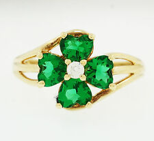 9ct Yellow Gold Simulated Emerald & Diamond 4 Leaf Clover Cluster Ring (Size T)