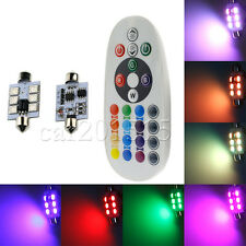 Pair 16Colors RGB LED Festoon Map Dome Interior Light Lamp 41MM C5W Remote